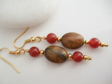 Beautiful Brown Tiger's Eye and Red Agate Drop Dangle Pierced Earrings