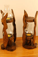 Kerzenständer Windlicht Laterne Kerzen Halter Teak Holz massiv 1 Licht Teelicht