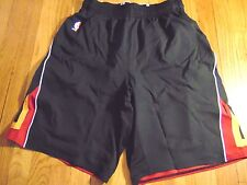 ADIDAS NBA AUTHENTIC MIAMI HEAT BLACK LIGHT WEIGHT GAME SHORTS SIZE L+2""