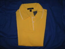 NWT LANDS END WOMENS S/S PIPED MESH POLO SHIRT SUNFLOWER SIZE M 10-12