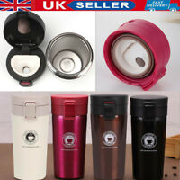 UK Insulated Travel Coffee Mug Cup Thermal Flask Vacuum Thermos Stainless Steel