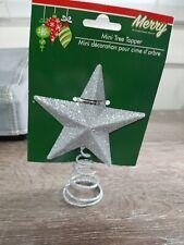 "Mini Christmas Tree Topper Glittery Silver , 5"""