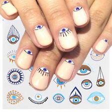 Nail Art Water Decals Stickers Transfers Halloween Blue Greek Tribal Eyes (823)