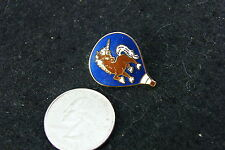 HOT AIR BALLOON PIN BLUE WITH BROWN UNICORN WITH WHITE MANE AND TAIL
