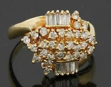 18K gold beautiful 1.15CTW diamond cluster cocktail ring size 8.25