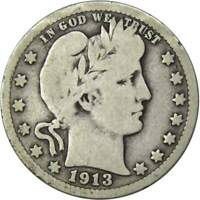 1913 Barber Quarter G Good 90% Silver 25c US Type Coin Collectible