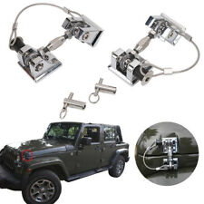 Pair Silver Vintage style Hood Latch Catch Locking Hold Key for Jeep Wrangler JK