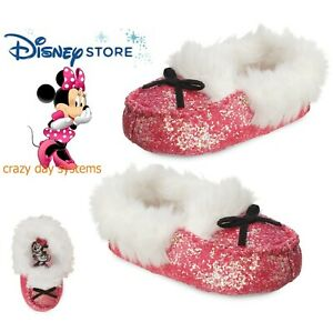 NEW Disney Store Minnie Mouse Girls Soft Pink Moccasin Glitter Slippers Sz 5/6