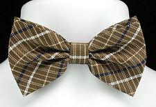 New Brown Plaid Mens Bow Tie + Hanky Hankie Tuxedo Wedding Fashion Bowtie Set