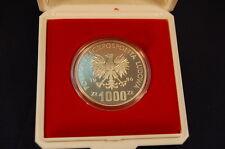 Polen 1000 Zloty 1986 Polierte Platte Silber Probe - PROBA, Eule
