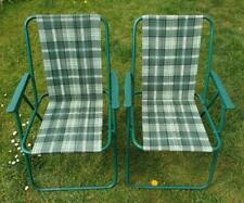 Pair 2 Vintage Retro Green Tartan Folding Deck Garden Chairs Beach Camper Van VW