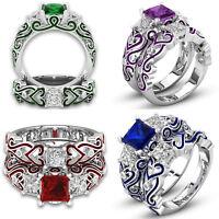 Women's White Gold Plate Princess Cut Cubic Zirconia Engagement Wedding Ring Set