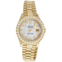Rolex 18K Gold President 26mm DateJust 69178 VS Diamond White MOP Watch 1.38 CT.