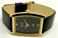 Seiko Quartz Super Slim Men Gold Plated Excellent Rectangle Black Face Watch