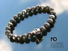 Men Hematite/Onyx Skull Bracelet with Swarovski Silver Crystal 7inch Elasticated
