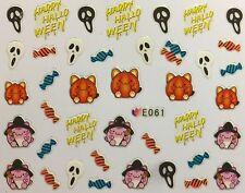Halloween Nail Art Stickers Transfers Ghosts Pumpkins Candy Witch Skull (E061)