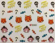Halloween Nail Art Pegatinas Transferencias fantasmas Calabazas Candy Bruja Calavera (E061)