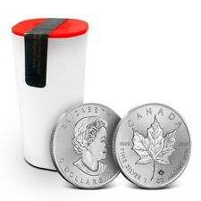 Tube/Lot of 25 - 2018 1 oz .9999 Silver Canadian Incuse Maple Leaf $5 Coins BU