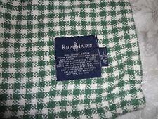VTG RALPH LAUREN Combed Cotton Green & White Checked 90 X 108 King Blanket USA