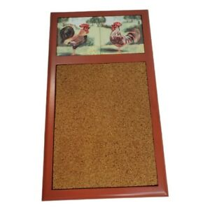 Rooster Tiles Cork Board Wood Memo Note Bulletin Farmhouse French Country EUC