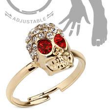 Anillo Dedo Del Pie & joyería de Ajustable Chapado en oro cristal calavera rojo