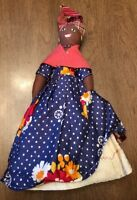 Vintage Handmade African Black Doll ANTIGUA Caribbean Rage Wicker Layered Dress