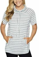 Vince Camuto Womens Variegated Stripe Knit Blouse, White/Navy Size S