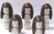 Lego 5 Peluca de Cabello para Niña Mujer Minifigura Largo Recto Marrón Oscuro