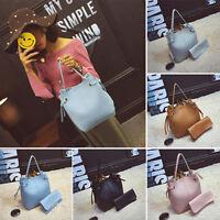 2Pcs/Set Women's Soft Leather Shoulder Bag Messenger Satchel Tote Bucket Handbag