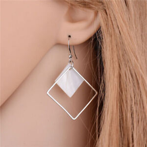 Cool Style Silver Plated Alloy Square White Shell Dangle Fashion Earrings
