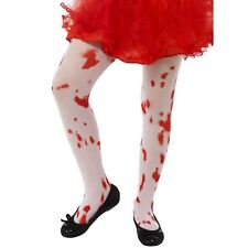 Kids Girls Bloody Bloodied Tights Halloween Costume Zombie Hosiery Accessory