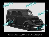 OLD POSTCARD SIZE PHOTO OF INTERNATIONAL HARVESTER D2 AMBULANCE VAN c1940 RAAF