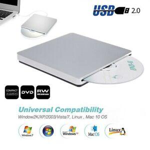 USB 2.0 Portable Ultra Slim CD DVD Drive Player Burner Writer Reader Rewriter