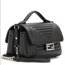 3081c35e9a FENDI DOUBLE MICRO BAGUETTE(PALLADIUM) CROSSBODY SATCHEL IN BLACK
