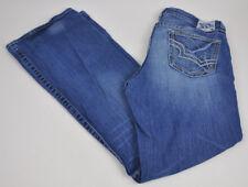 BIG STAR Maddie BOOTCUT Distressed JEANS Thick Stitch MEDIUM Wash Sz 33R ~Sz 12