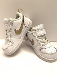 Nike Girls Court Borough Lo Tod Strap White Gold Toddler 7C Slip On BV0749-100