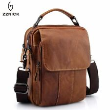 Mens Leather Crossbody Bag Small Messenger Chest Bag Business Shoulder Bag