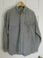 Vintage Todays News Men's Shirt Long Sleeve Button Up Pockets Gray Size Large L