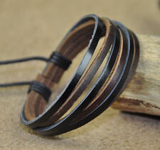 Mens Surfer Multi 6-Band Hemp Leather Bracelet Wristband Cuff For Women