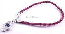 Hamsa Neon Dark Red Silver Leather Bracelet Evil Eye Kabbalah Hand Of Fatima