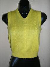 1980s vintage retro bright neon yellow sweater vest size 6x