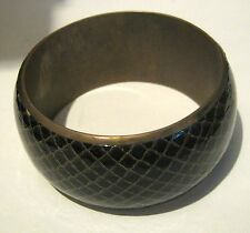 Lovely chunky bangle style bracelet gold tone metal with scale/snake skin design