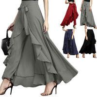 Women Summer Chiffon Elastic Waist Casual Wide Leg Culotte Palazzo Dress Pants