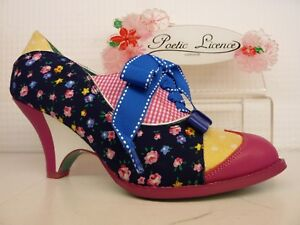 Poetic Licence by Irregular Choice Force of Beauty Navy Pink Heel Lace Up Shoe