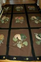 FRENCH AUBUSSON NEEDLEPOINT RUG ANTIQUE FRUIT MELONS VINES HAND TIED 6x8 VINTAGE