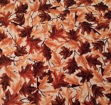 Out of the Den Hautman for Quilting Treasures BTY Brown Tan Fall Leaves on Ivory