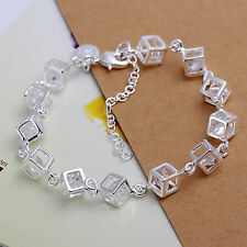 UK New Sterling Silver Plated Cube Bracelet Chain Link Sparkly Crystal  (126)