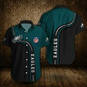 Philadelphia Eagles Shirts Summer Short Sleeve Button Down T-Shirt Football Top