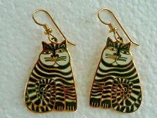 "LAUREL BURCH Vintage 'SHAMBALA""  CAT Earrings Cloisonne Enamel Post SIGNED"