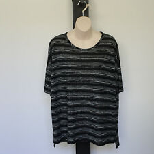 'METALICUS' BNWT SIZE 'S-M' BLACK, GREY & WHITE STRIPE SHORT SLEEVE TOP